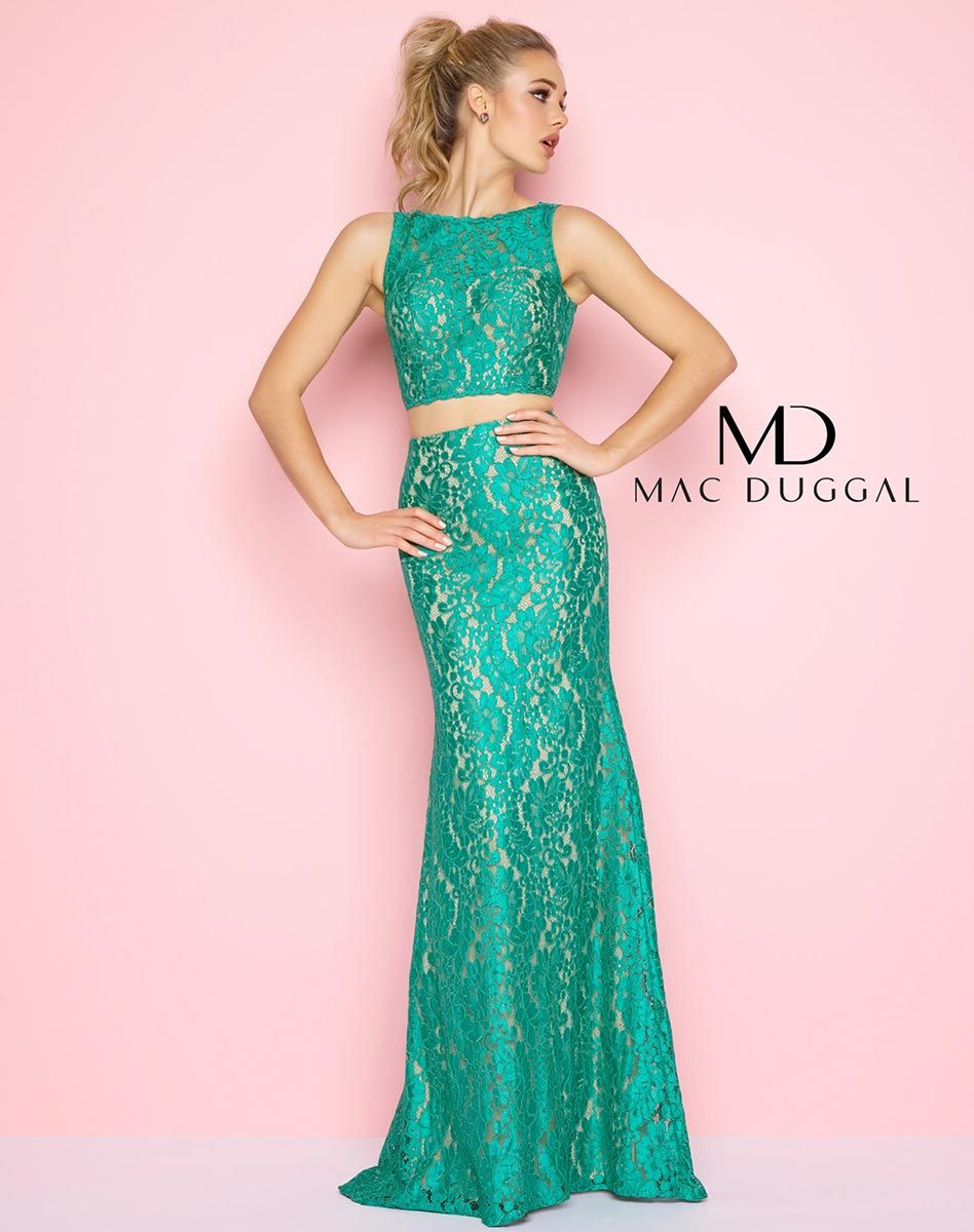 Emerald, sleeveless, scoop neck, two piece, column dress with nude ...
