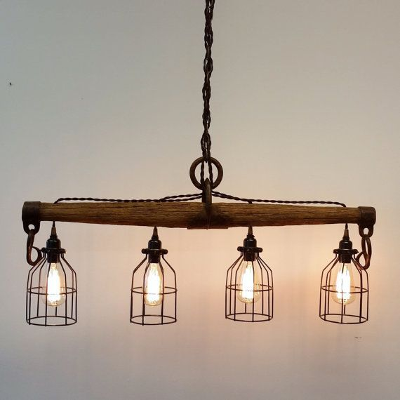 25 Best Rustic Lighting Ideas From Etsy To Buy In 2019: Rustic Industrial Yoke Chandelier By UrbanAnalog On Etsy