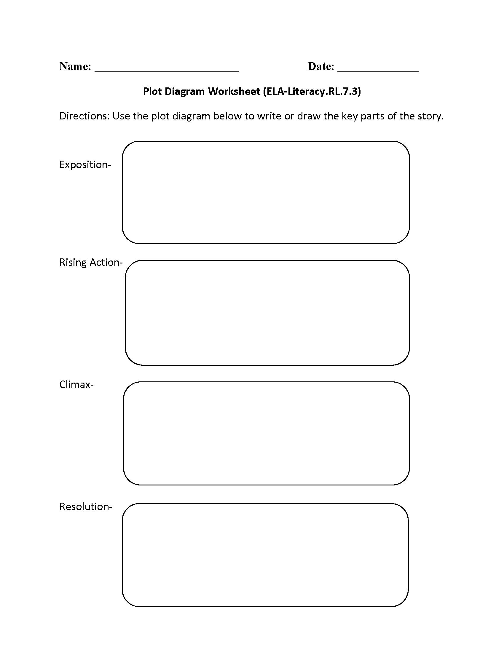 Plot Diagram ELA-Literacy.RL.7.3 Reading Literature Worksheet   Reading  literature [ 2200 x 1700 Pixel ]