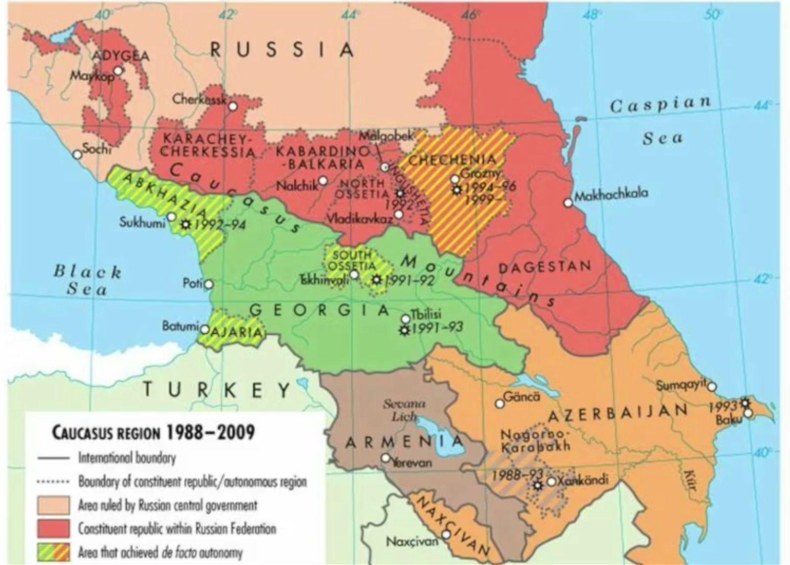 Caucasus region 2009   Historical maps, Modern history, History