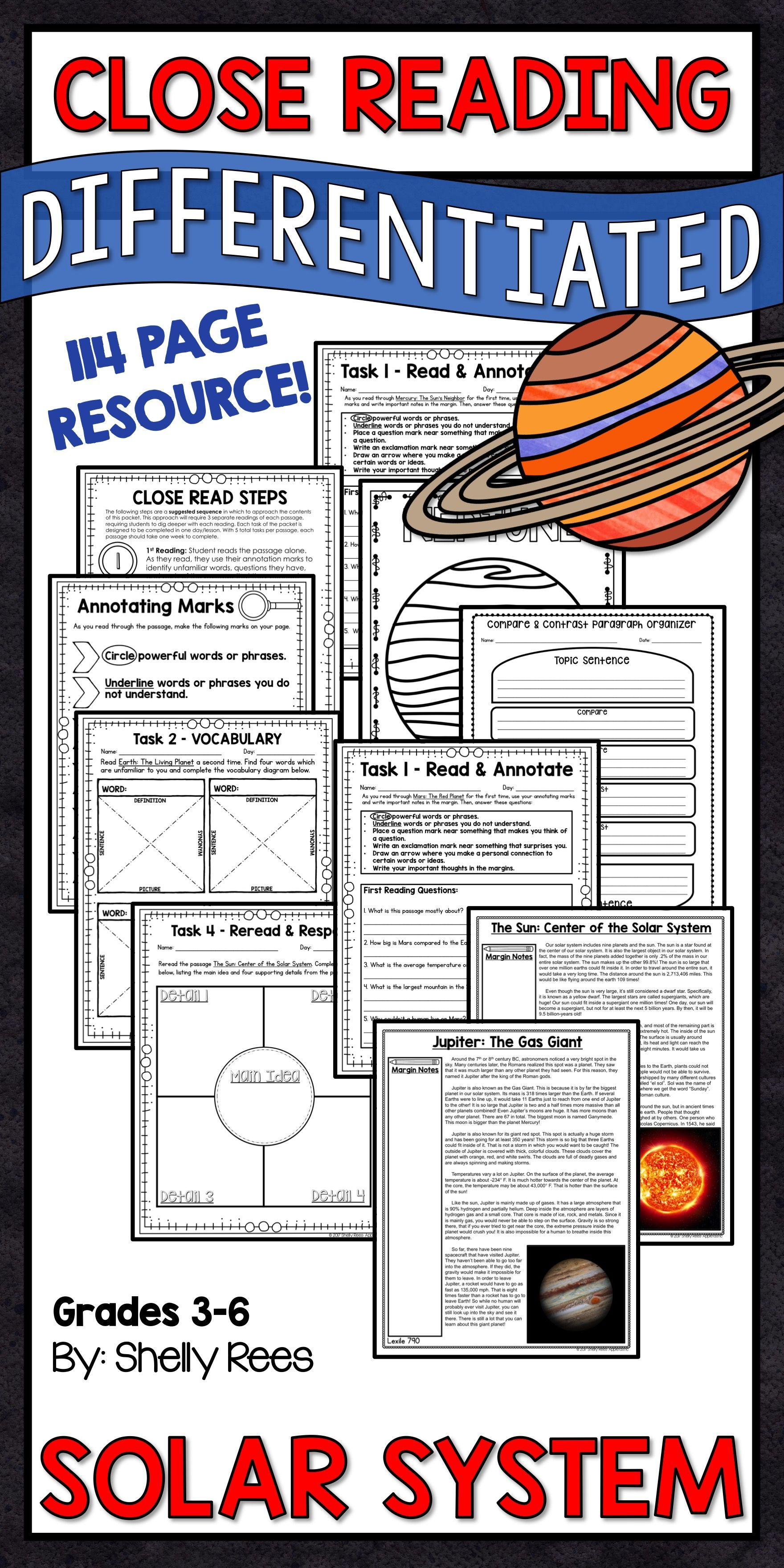 Reading Comprehension Passages And Questions Solar System