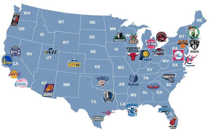 NBA Teams Map | NBA teams map | Nba, Nfl, Nba basketball teams