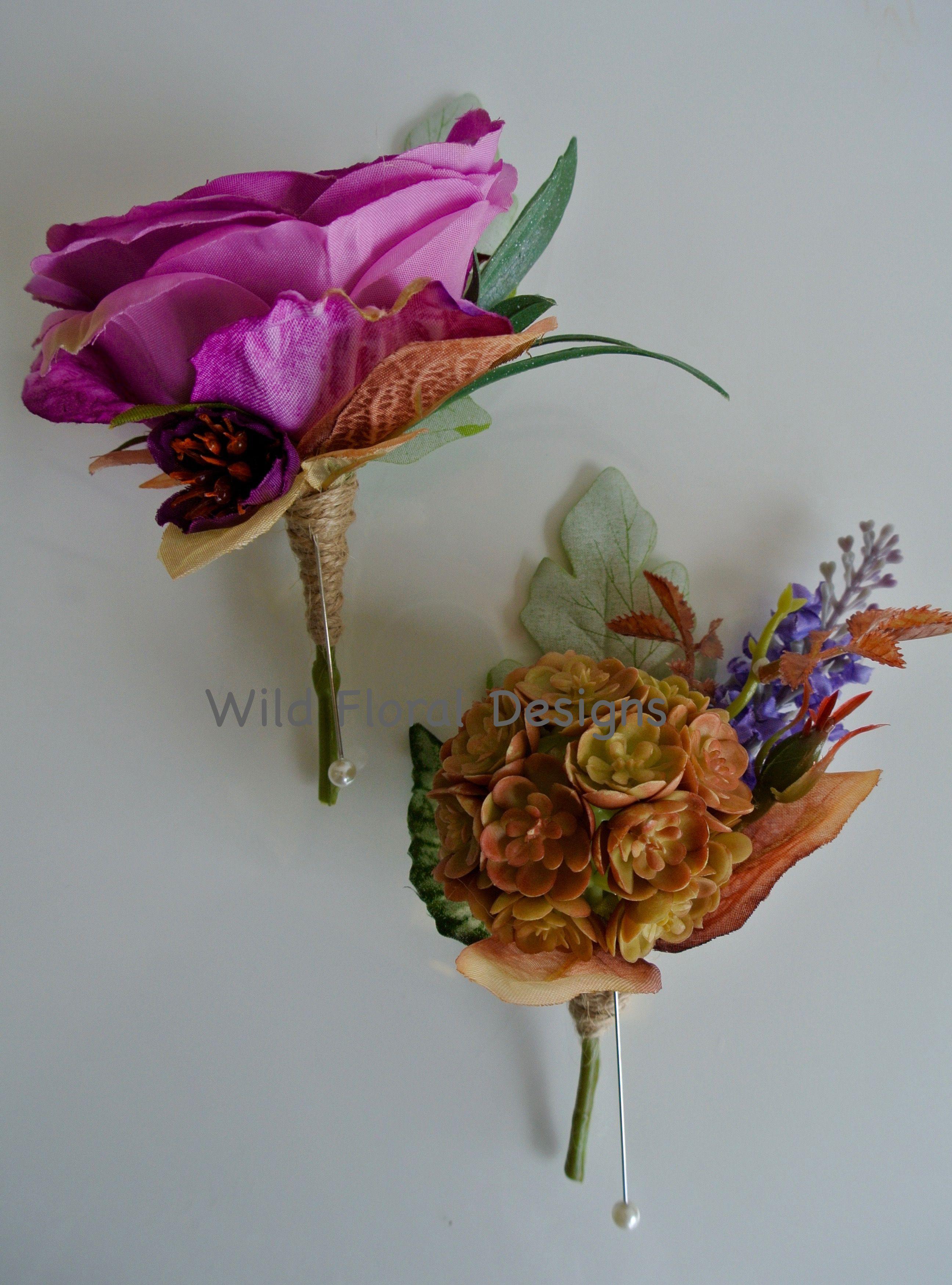Artificial Silk Succulent Buttonhole Twine Rustic Wedding