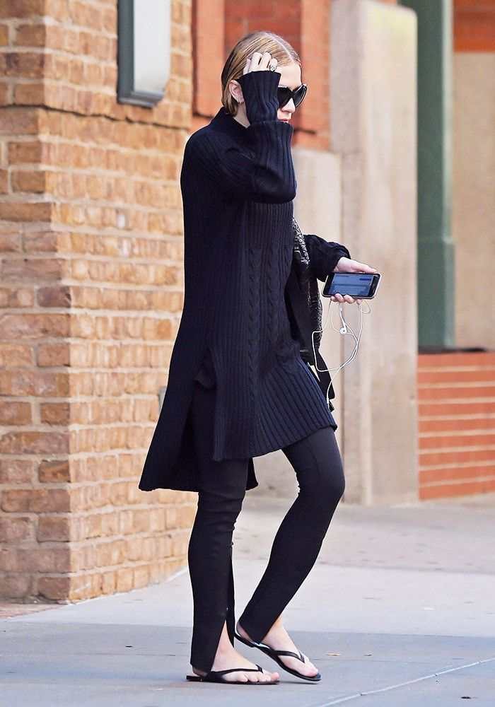 Treggings and Flip-Flops? Ashley Olsen Says Yes via @WhoWhatWear