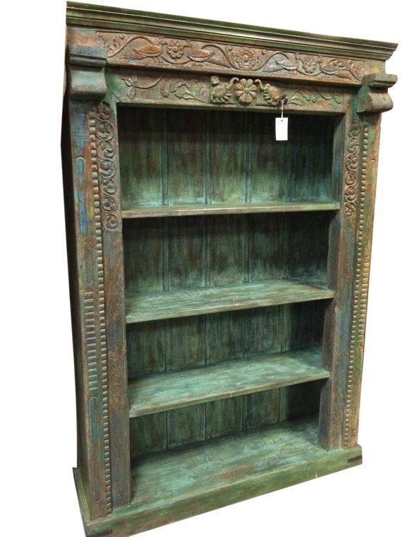 Hand Carved Bookshelf ~ Antique bookshelf floral hand carved indian by