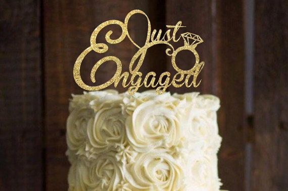 Cake Topper Engagement Cake Topper Just Engaged Cake Topper