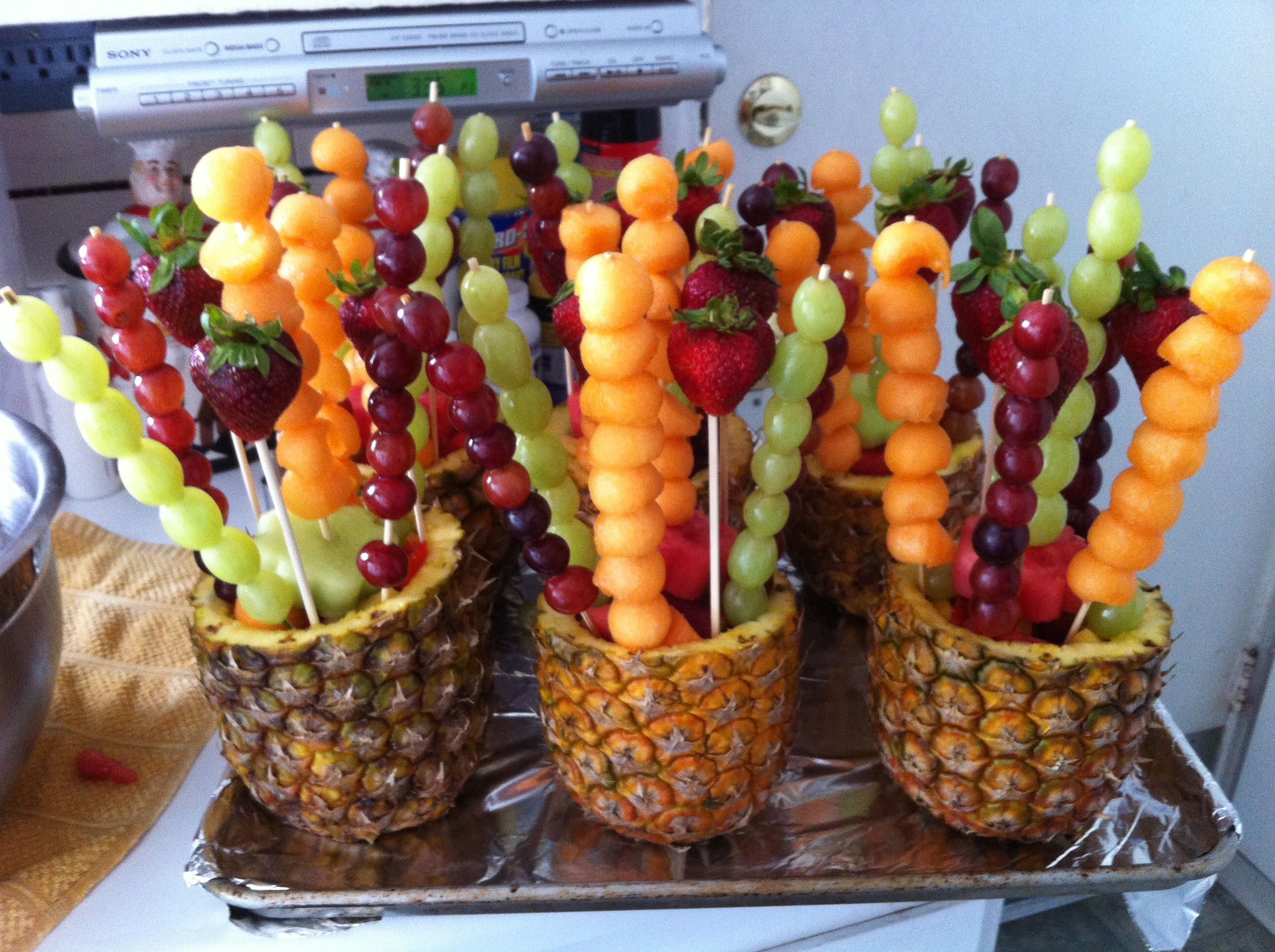 Pineapple Fruit Bowls-made for Phil\u0027s Birthday BBQ 6/23/12 | Food ...