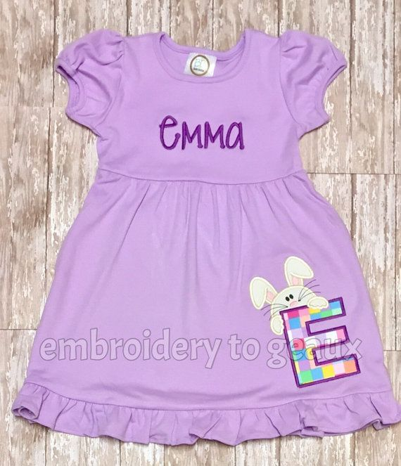 e0c90d30dc01d Personalized Easter Bunny Alphabet Dress, Monogrammed Easter Dress ...