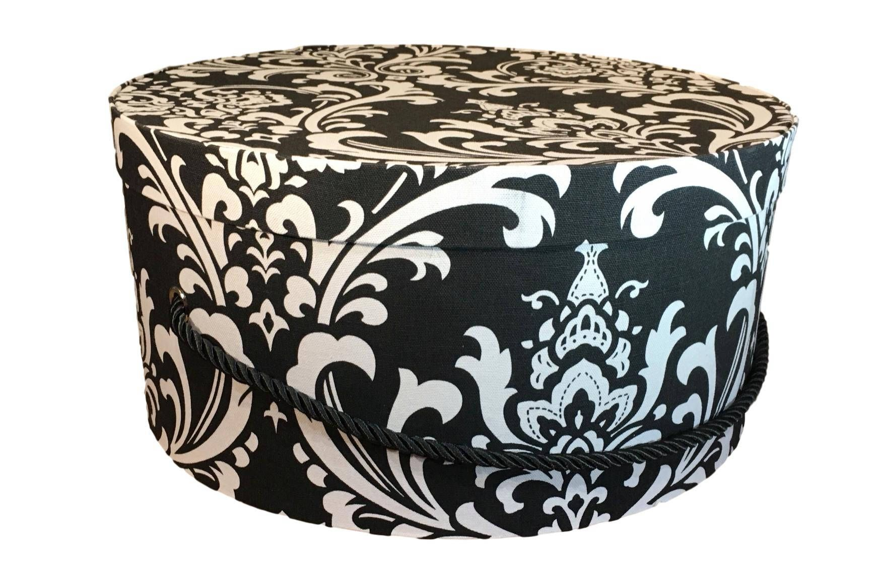 Large Hat Box In Black And White Damask Large Decorative Fabric Covered Hat Boxes Round Storage Box Keepsake Box Fabric Decor Fabric Covered Boxes Hat Boxes