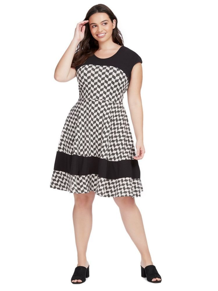 b63dccd535b EFFIES HEART Napoli Retro Jersey Knit Dress Herringbone Print Womens Plus  Sz 1X  EffiesHeart  FitFlareDress  AnyOccasion