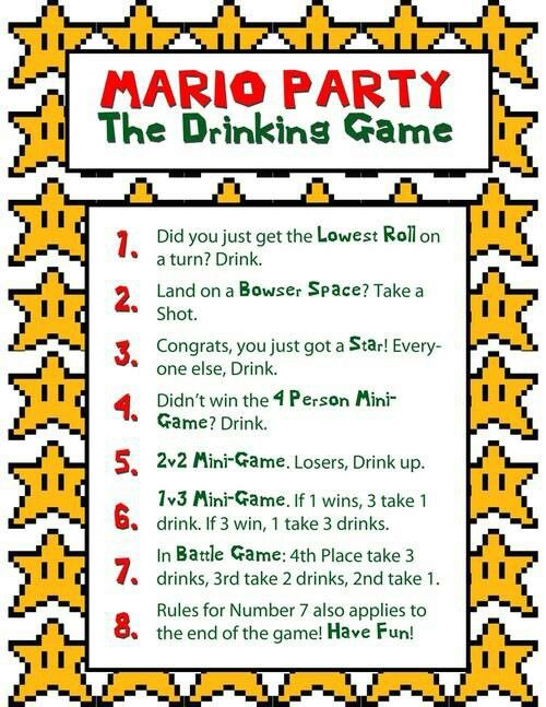 Mario Party Drinking Game Drinking Games Drinking Games For Parties Drinking Party