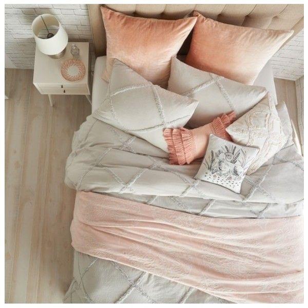 Peri Home Chenille Lattice Duvet Cover ($60) Liked On