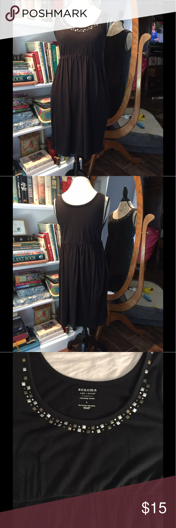 EUC Sonoma black knit sundress with metal accents Sonoma size large comfortable black knit sleeveless dress hidden side pockets elastic waist with silver tone and gold tone accents around neck. Only worn a few times. Perfect for spring summer fall winter with cardigan or beach bathing suit cover up.   Please check out my other quality listings. All sales final.   Tags: tank top blouse mini midi maxi LuLaRoe Carly leggings pants jeans shorts shoes jewelry Sonoma Dresses Mini