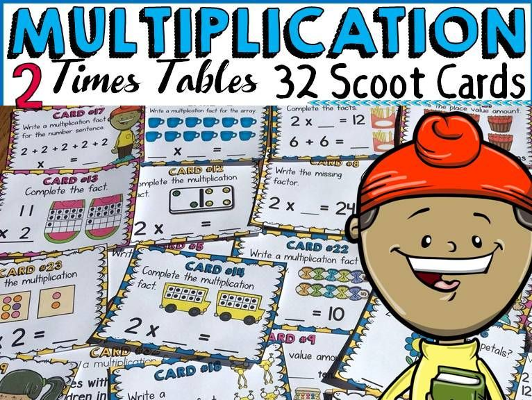 Multiplication two times tables facts scoot cards