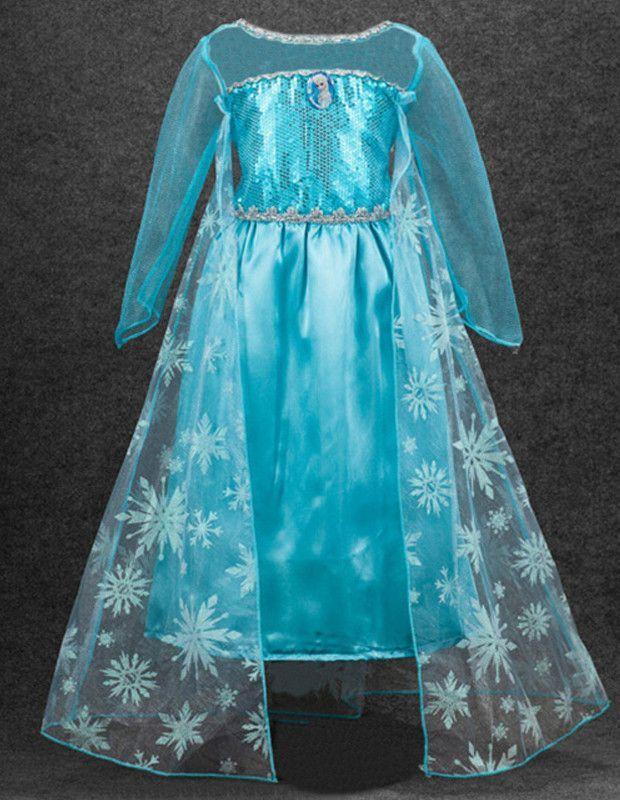 Girls Kids Frozen Princess Elsa Halloween Costume Dress