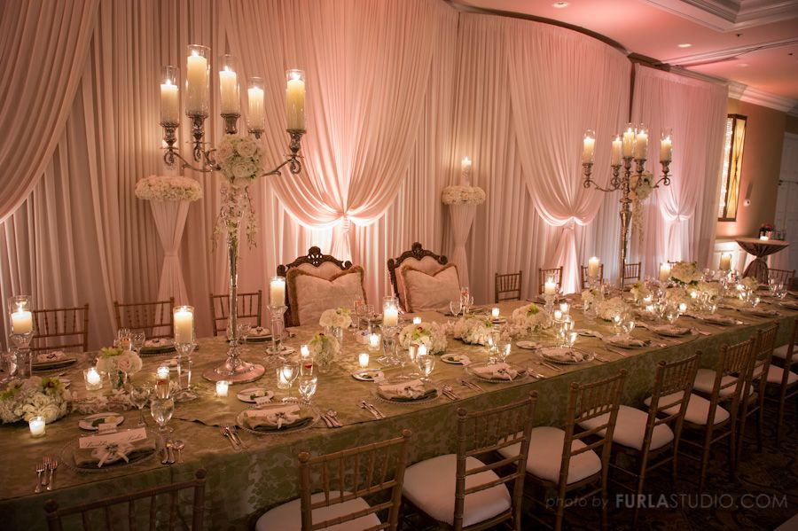 Elegant White Head Table Decoration With High Candelabras