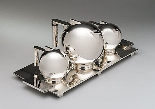 Tea set, Paul A. Lobel for International Silver Co., Wilcox SIlver Plate Division, 1934, silver plate, wood