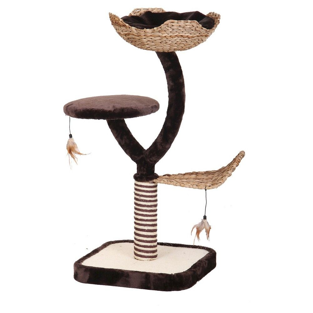 Cat Life Nest and Scratching Post with Three Level Activity Center,