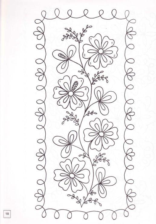 Flowers with border | Diseños para pintar | Pinterest | Bordado ...