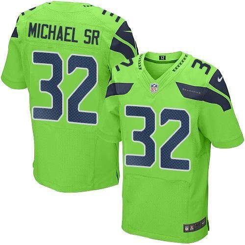Men's Seattle Seahawks #32 Christine Michael SR Green Stitched NFL Elite Rush Jersey