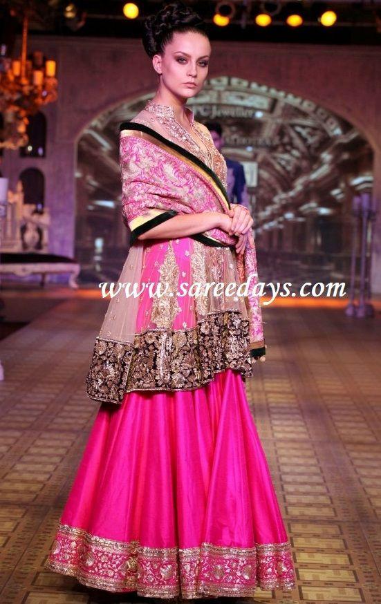 Latest Saree Designs: pink manish malhotra heavy work bridal lehenga ...