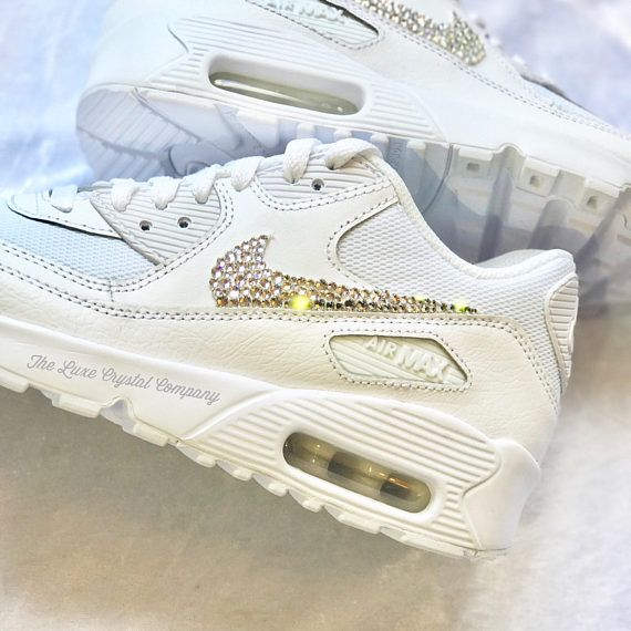 best service b9ccf 7e33d Luxe Crystal Custom Nike Air Max 90 White Wedding Bridal Shoes