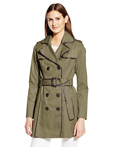 BCBGeneration Womens Belted Trench with Faux Leather Detail Army Small -- Check out this great product.