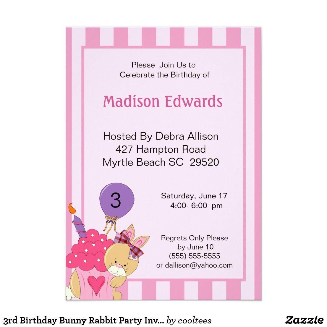 3rd Birthday Bunny Rabbit Party Invitation | Pinterest | Bunny ...