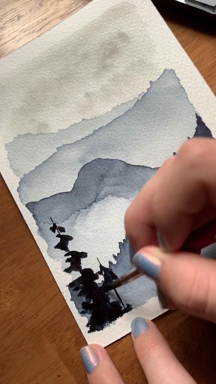 Foret De Montagne Aquarelle Moody Paysages Idees D Aquarelle
