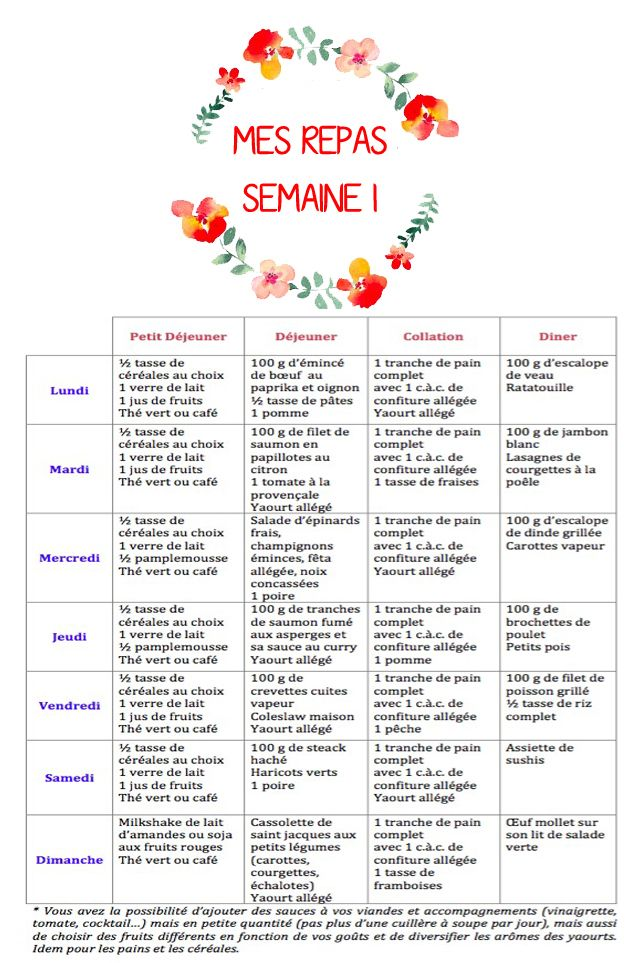 menu minceur semaine homme instagalayi