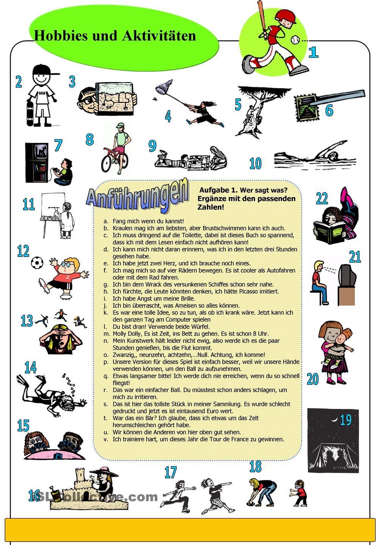 Hobbys und Aktivitäten - Bildwörterbuch   D1Q2C2 - Pläne machen ...