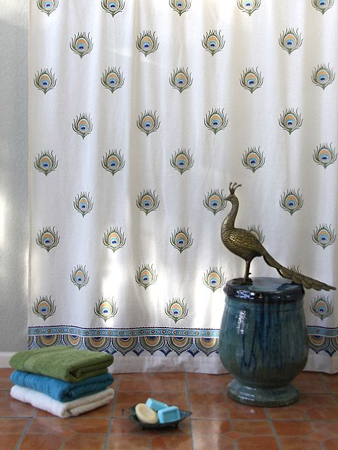 Dance O Peacock Ivory Peacock Feather Print India Shower Curtain