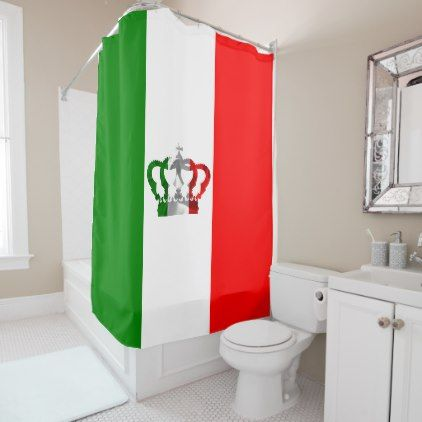 Vintage Crown Modern Italy Italian Flag Shower Curtain - #Bathroom on crown bedroom accessories, crown car accessories, crown curtain holder, crown of light, crown desk accessories, crown sinks, crown home accessories,