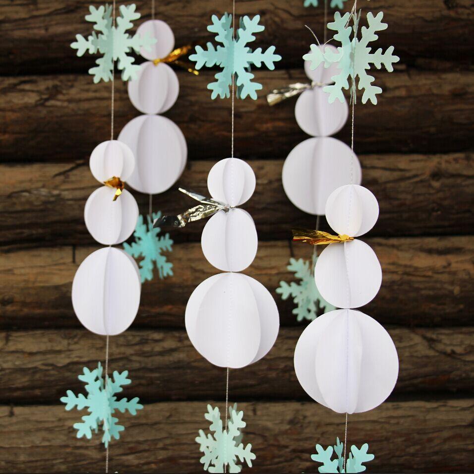 Snowman Decorations Snowflake Garland Winter Party Decor