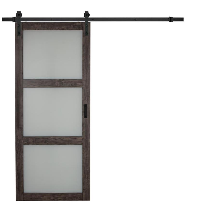 Reliabilt Iron Age Prefinished 3 Panel Mdf Barn Door Hardware Included Common 36 In X 84 In Actual Glass Barn Doors Interior Barn Doors Barn Door Hardware