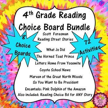 4th Grade Reading Bundle Choice Boards Writing ELA