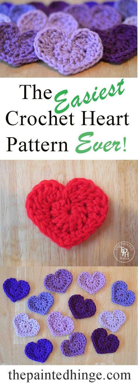 The Easiest Heart Crochet Pattern Ever! | Tejido, Ganchillo y Patrones
