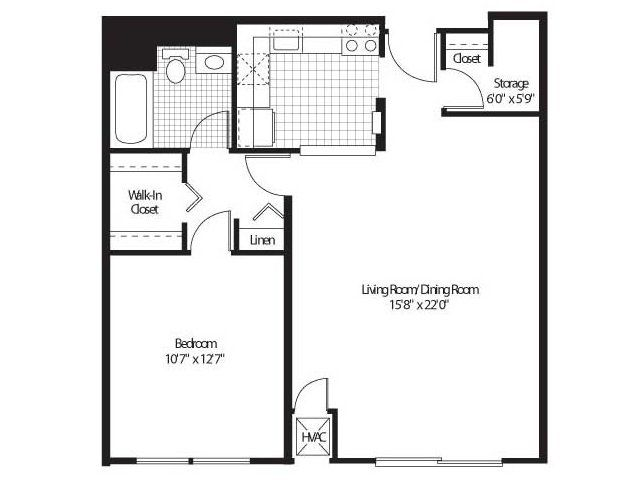 1 Bedroom, 1 Bath Floor Plan of Property Detroit City Apartments. Luxury apartment living with modern resort class amenities in Detroit's Central Business District, Detroit City Apartments.