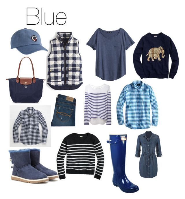"""""""Fall Fashion: Blue"""" by hayley-tennis ❤ liked on Polyvore featuring J.Crew, Longchamp, Abercrombie & Fitch, H&M, Hunter, Sacai Luck, UGG Australia and maurices"""
