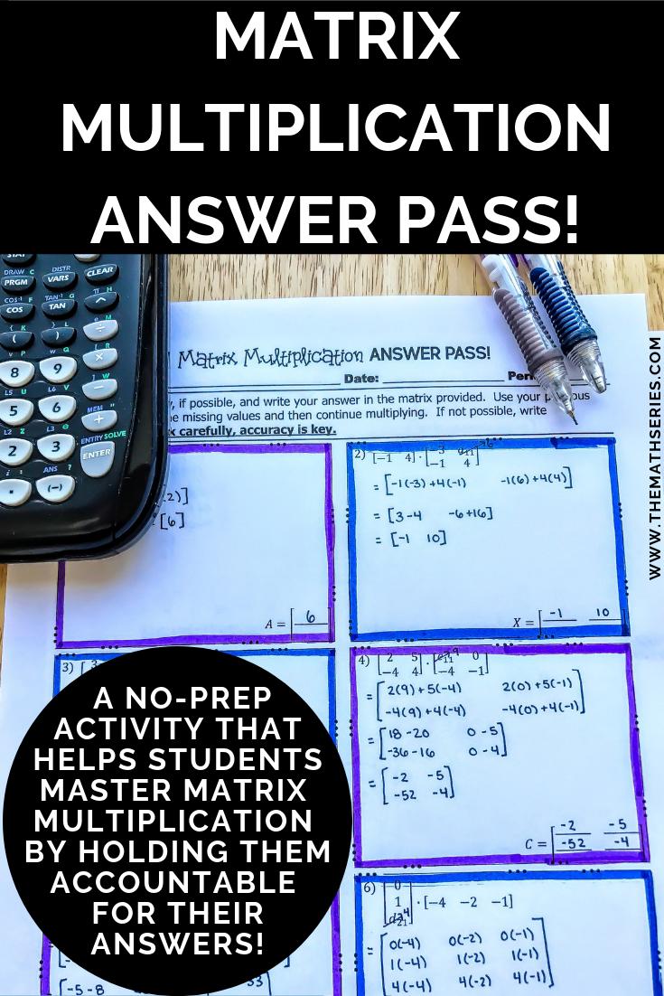 Matrix Multiplication Answer Pass Matrix Multiplication Matrix Activities Matrix