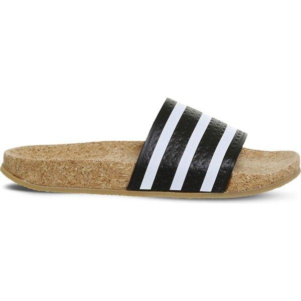Adidas adilette cork slides ($78) ❤ liked on Polyvore