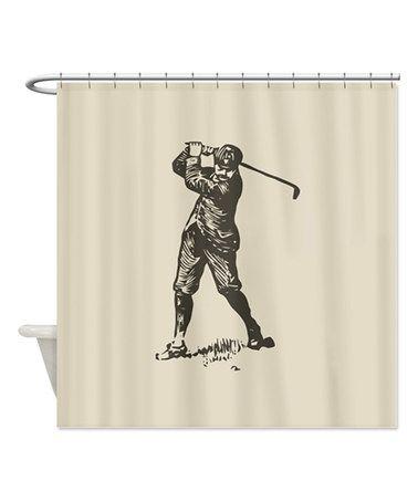 retro golfer shower curtain zulily