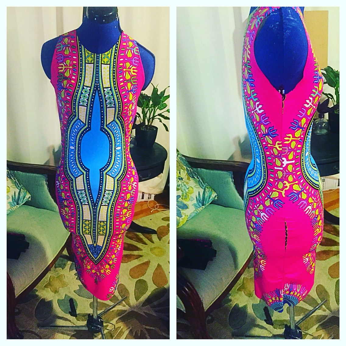 African inspired bodycon dress