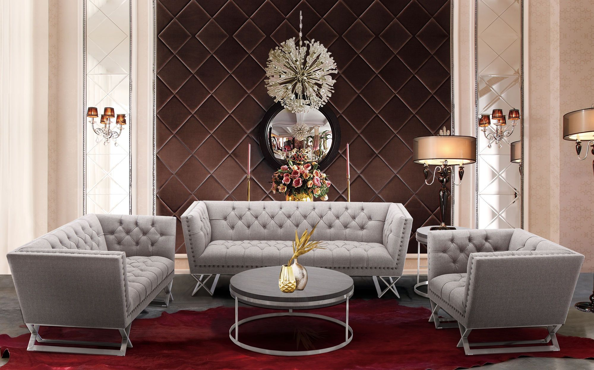 Grey Living Room Set With Nailheads Modern House