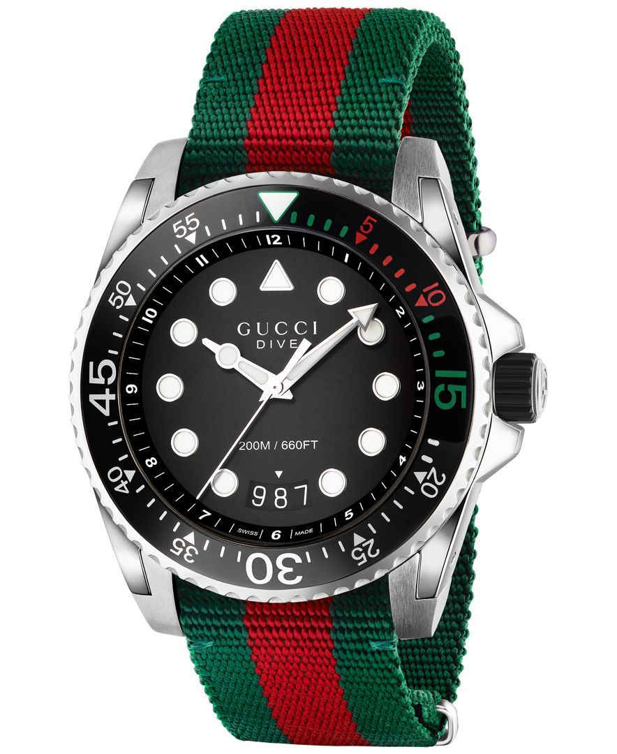a6ed9f1637a Men s Swiss Dive Green and Red Nylon Strap Watch 44mm YA136209 in ...