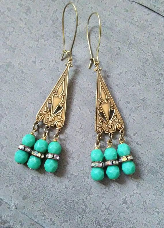 dc9511bbb OOAK Green Earrings Jewelry Vintage Crystals and Milky Green | Art ...
