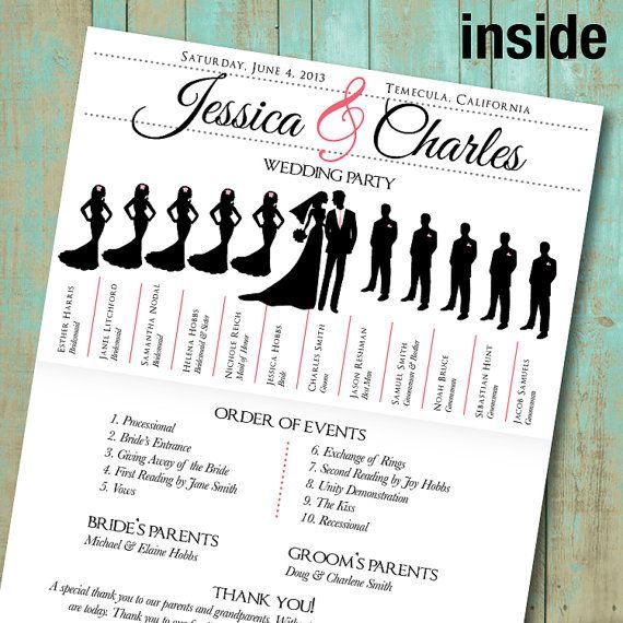wedding program with wedding party silhouettes by joyfulprintables