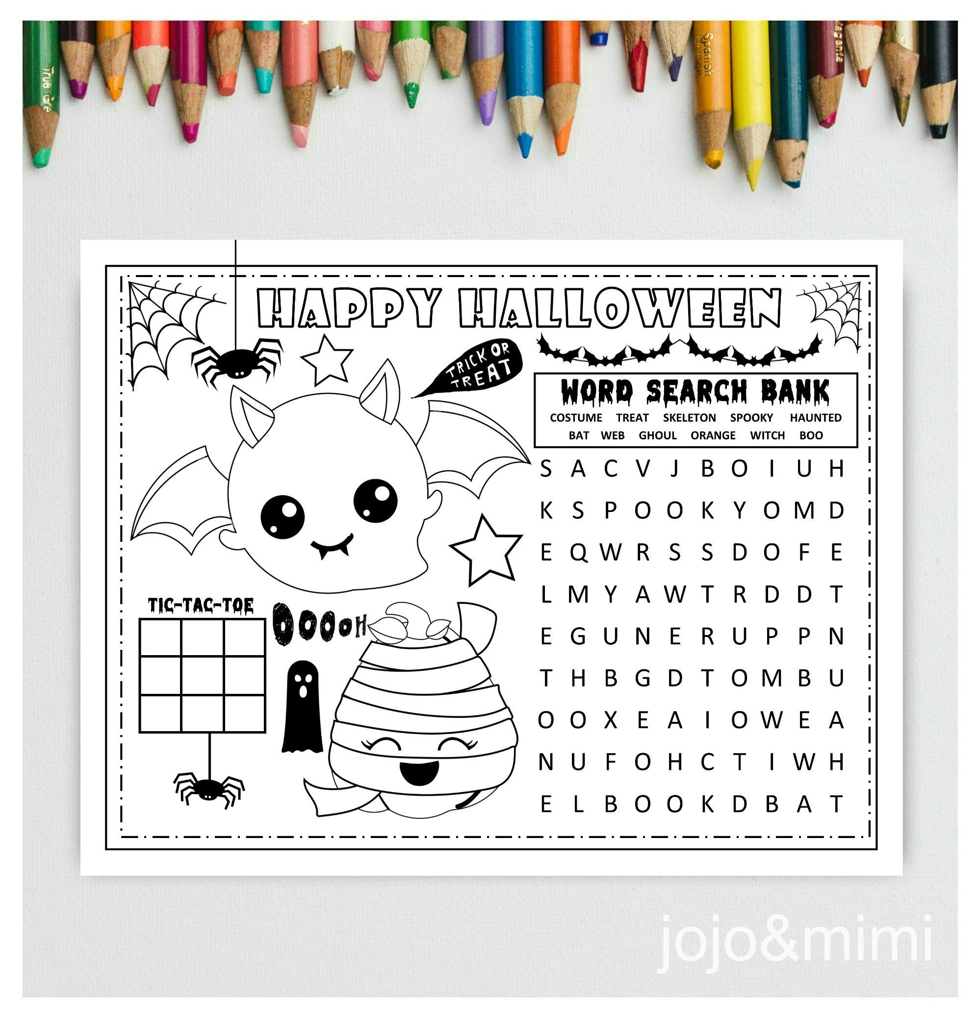 Halloween Printable Placemat Activity Halloween Coloring Page Etsy Halloween Placemats Halloween Printables Halloween Printables Free