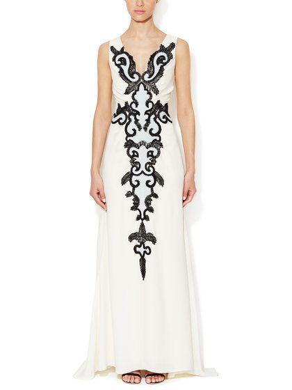 Carolina Herrera Silk Embellished Applique Gown