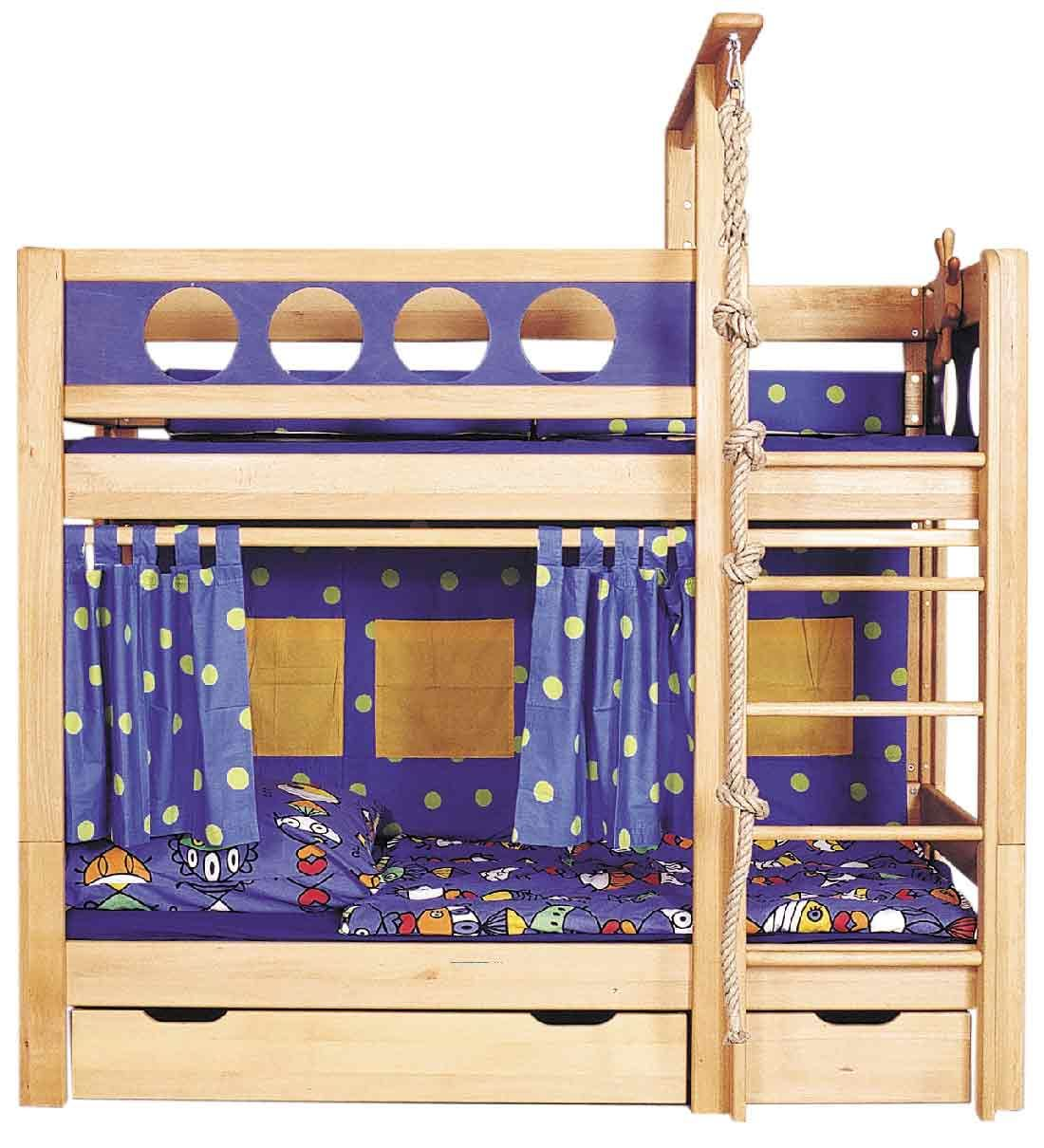 lit superpos enfant 90 x 200 cm pirate de breuyn en bois massif avec tiroirs de rangement. Black Bedroom Furniture Sets. Home Design Ideas